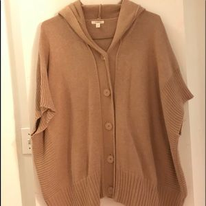 Tan Hooded Button up Poncho